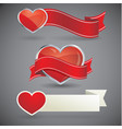 set of banners with red hearts vector image