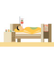 sick man is in bed flat vector image