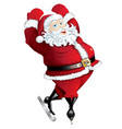 skating santa in pose isolated vector image