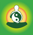 Symbol Yin Yan in hands of the person vector image