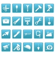Tools icons on blue squares vector image