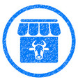 cow farm rounded grainy icon vector image