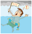 Man sinking in the sea vector image vector image