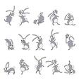 Dancing rabbits cartoon vector image