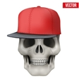 Human skull with rap cap on head vector image