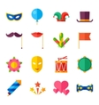 Celebration carnival set of flat icons and objects vector image