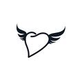 wing heart shape love vector image