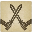 Crossed swords old background vector image