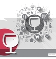 Hand drawn wine glass icons with food icons vector image