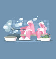 man and woman relaxing in sauna vector image