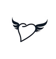 wing heart shape love vector image
