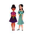 two women girls black and caucasian holding vector image