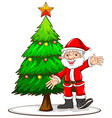 A sketch of a Christmas tree with Santa Claus vector image
