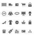 cartoon silhouette black shopping icon set vector image