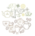 Coffe and tea icons vector image