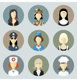 Colorful Women in Uniform Circle Icons Set Modern vector image