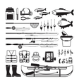 Fishing black icons vector image