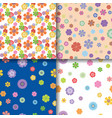 floral patterns seamless background set vector image