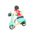 Guy Sitting On Scooter From The Back vector image
