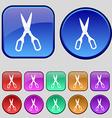 Scissors icon sign A set of twelve vintage buttons vector image
