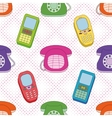 Seamless background cartoon telephones vector image