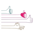 Isolated human hand holding heart design vector image