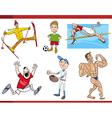 sportsmen cartoon set vector image