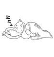 he sleeps with a deep sleep covered with a blanket vector image