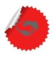 Handshake icon in sticker vector image