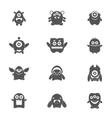 Monsters Set Black vector image