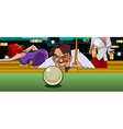 man in the billiard ball aims at vector image