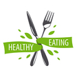 logo fork and knife for a healthy diet vector image vector image