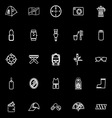 Camping necessary line icons on black background vector image
