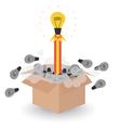 bulb idea rocket blast off concept of think vector image