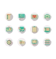 Cardiology equipment round flat color icons vector image