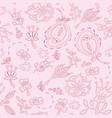 Doodles floral pattern vector image