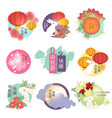 set of mid autumn festival icons stamps vector image