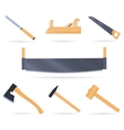Set traditional tools of the carpenter vector image
