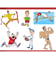 sportsmen cartoon set vector image