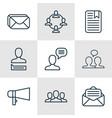 set of 9 social network icons includes society vector image