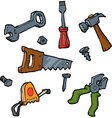 doodle set of tools vector image vector image