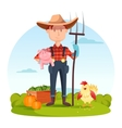 Farmer with pitchfork and pork vegetables hen vector image