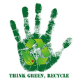 Hand print with recycle icon vector image