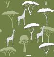 seamless pattern with giraffe and savanna trees vector image