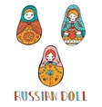 Colorful card with cute russian dolls vector image vector image