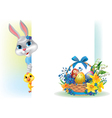 Easter background with rabbit chicken and basket vector image