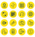 set of 16 traveling icons includes shopping vector image
