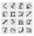 Robotic arm icons black vector image