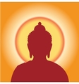 Silhouette Buddha against the sun vector image