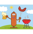 Happy Sausage Cartoon Enjoying a Barbeque vector image vector image